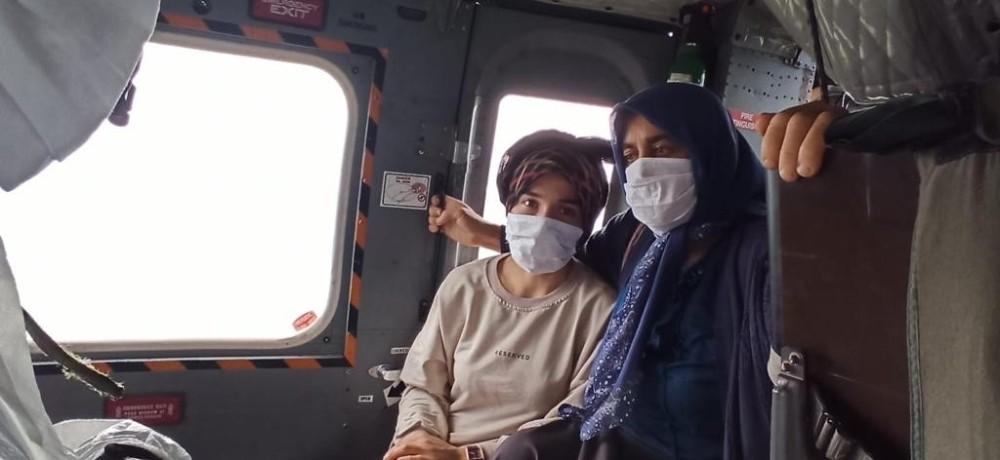 Giresun'da sel bölgesindeki diyaliz hastası kadının imdadına Sahil Güvenlik helikopteri yetişti
